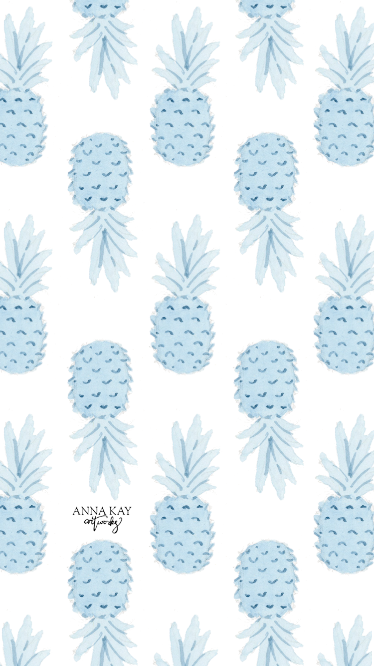 Watercolor Pineapple Summer Vacation Free Phone Background Anna Kay Artworks.png
