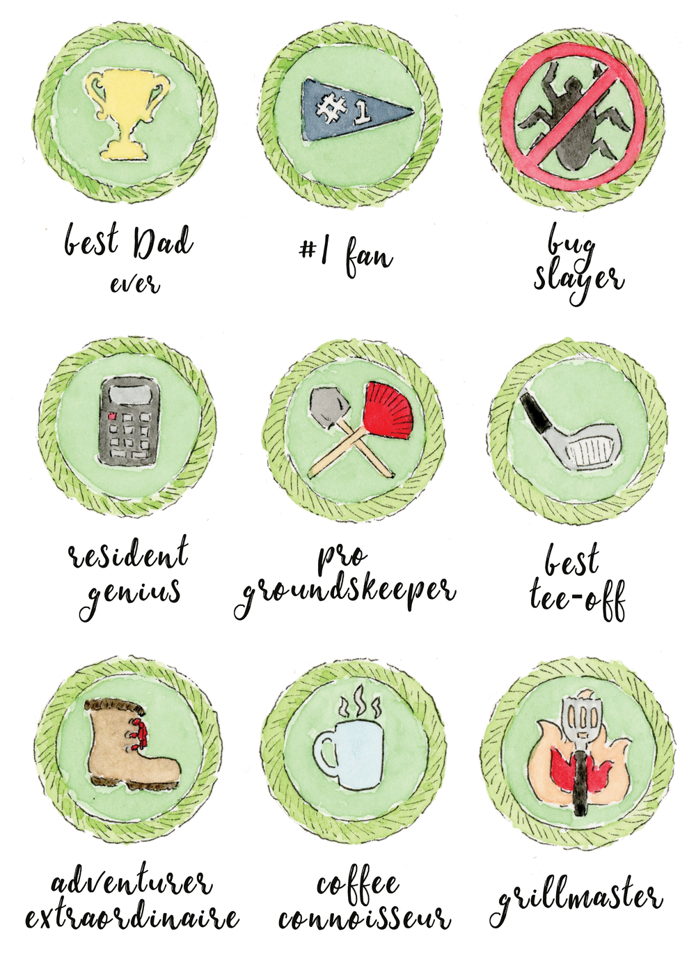 Father's Day Printable Free Watercolor Merit Badges Anna Kay Artworks