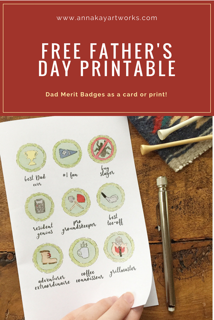 Free Father's Day Watercolor Merit Badge Printable Anna Kay Artworks