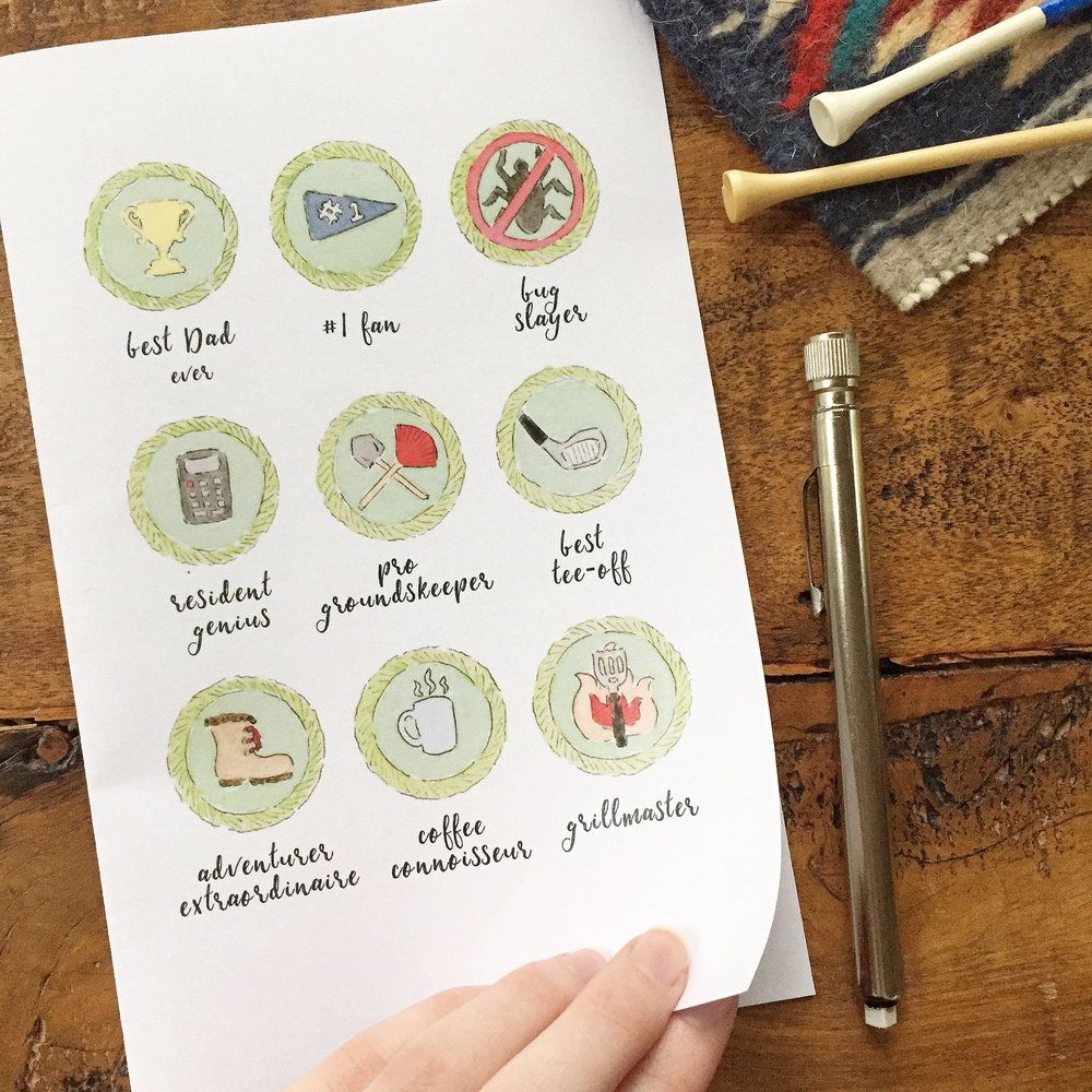 Free Watercolor Merit Badge Printable Father's Day Card2 Anna Kay Artworks
