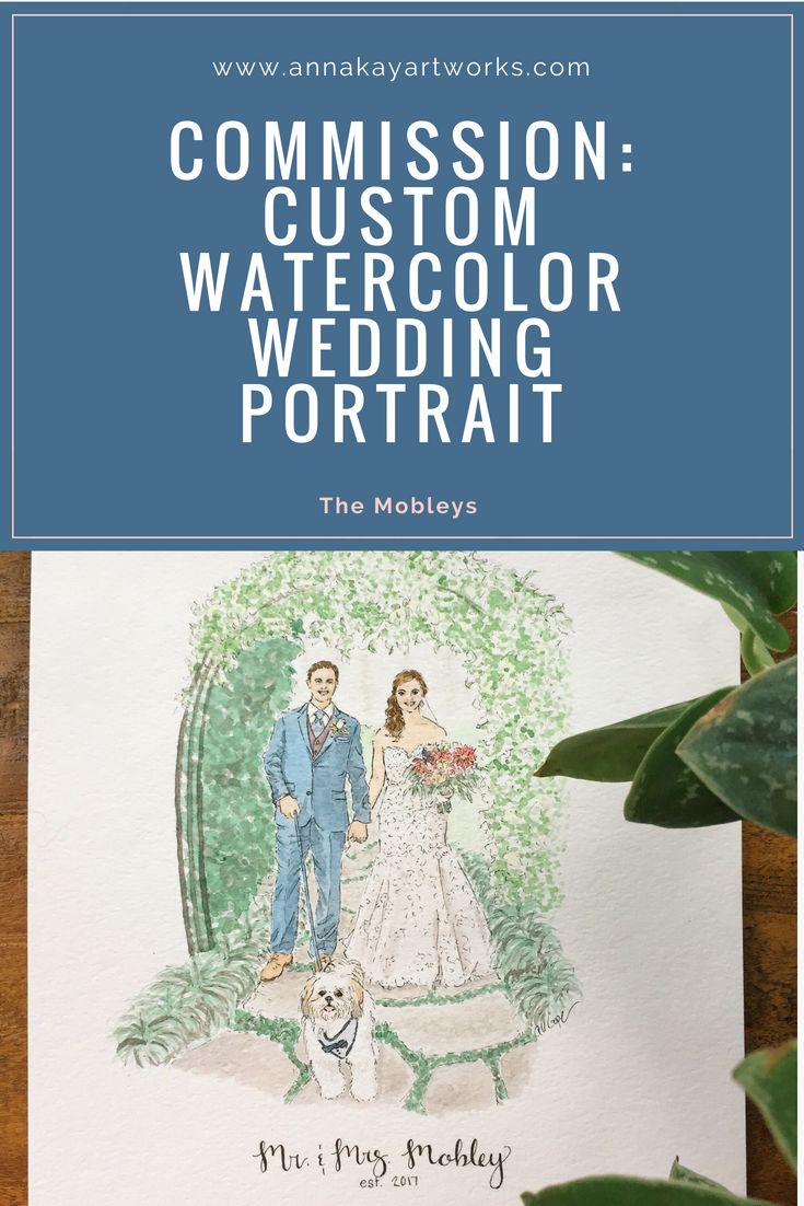 Custom Watercolor Wedding Portrait Anna Kay Artworks
