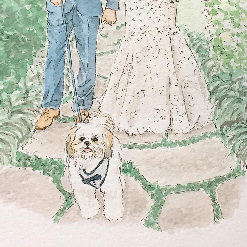 Custom Watercolor Wedding dog portrait Mobleys Anna Kay Artworks