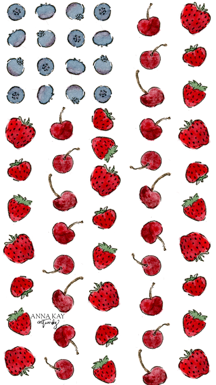Red White Blueberries Watercolor Free Phone Background Anna Kay Artworks.png