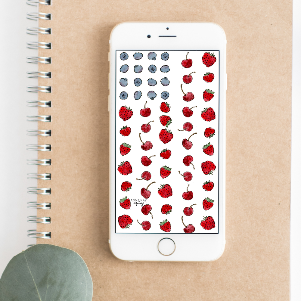 Summer Berry Flag July Free Watercolor Phone Background Anna Kay Artworks iPhone.png