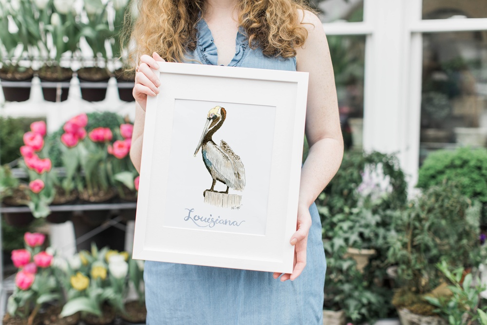 Watercolor Louisiana Pelican White Frame Anna Kay Artworks.png