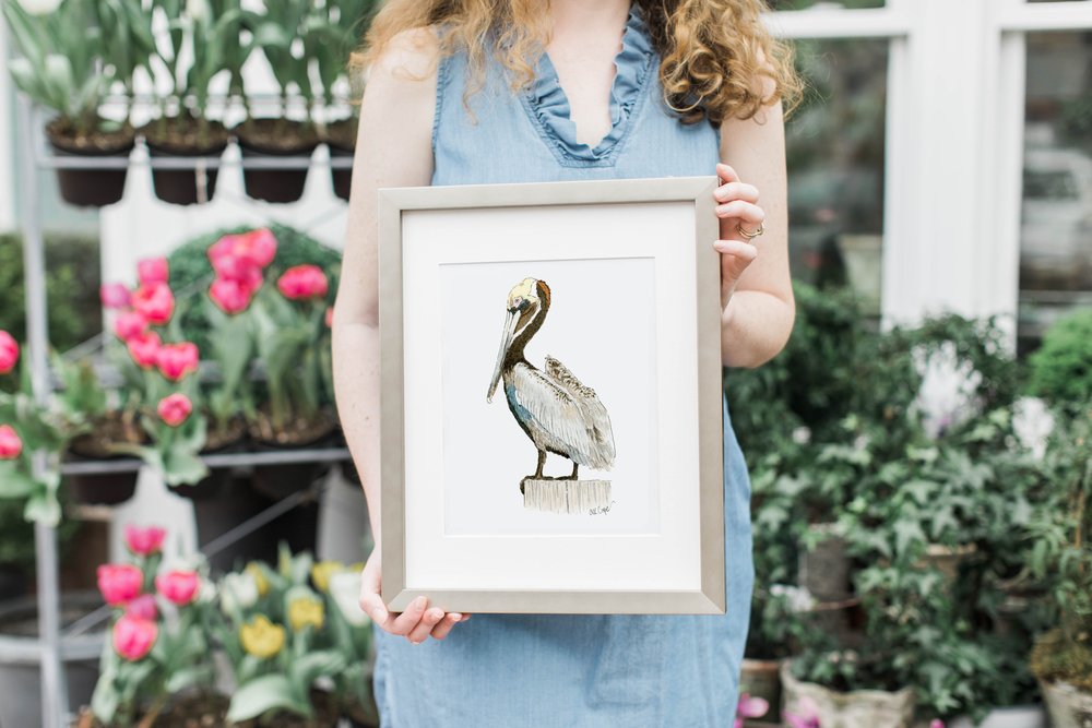 Watercolor Pelican Metal Frame Anna Kay Artworks