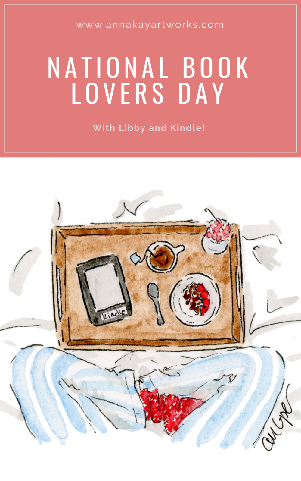 National Book Lovers Day Watercolor Kindle Anna Kay Artworks