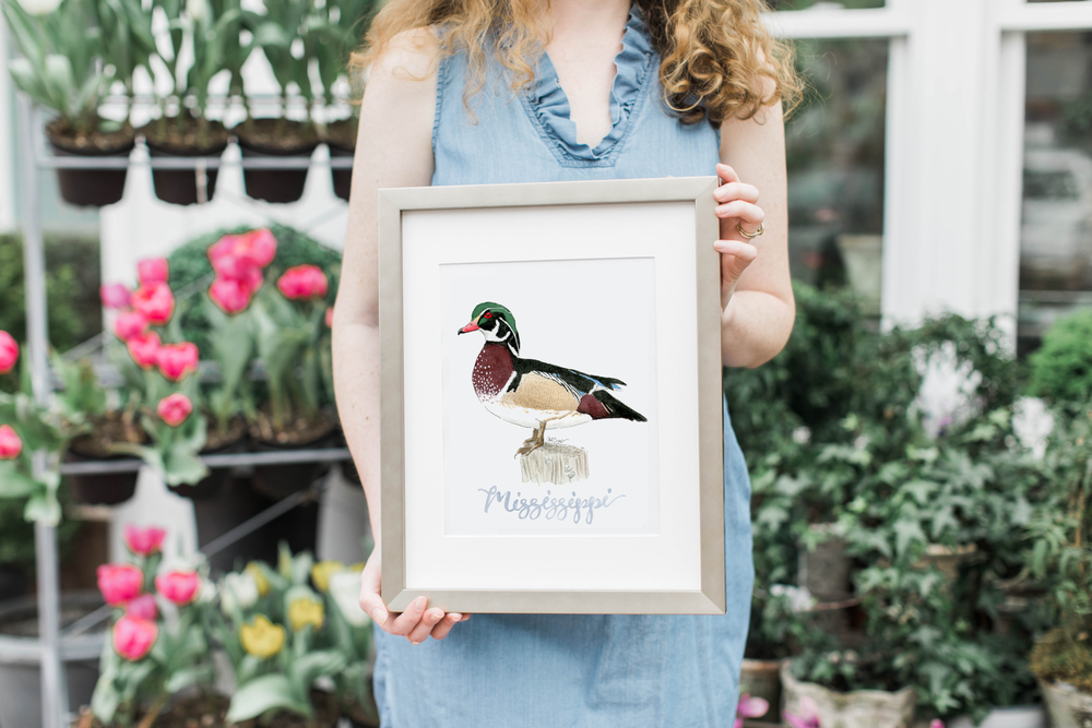 Watercolor Wood Duck Mississippi Vertical Metallic Frame.png
