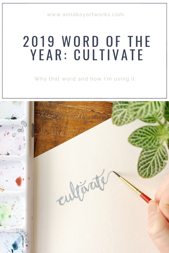 watercolor word of the year cultivate handlettering Anna Kay Artworks