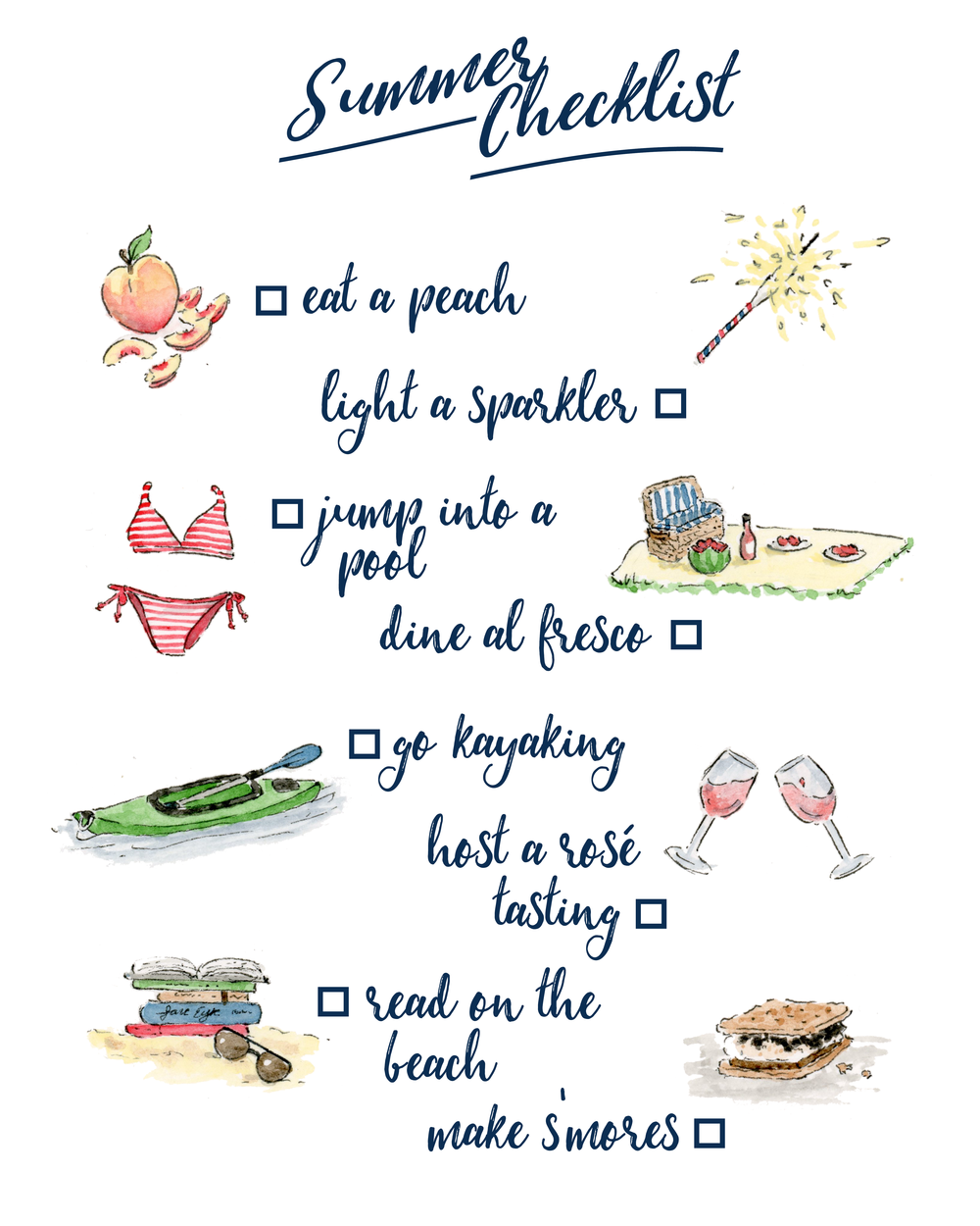 Watercolor Summer Checklist Anna Kay Artworks