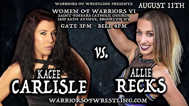 TOMORROW! Watch our girl @allierecks take on Kacee Carlisle at Women of Warriors IV! Sorry Kacee but we don't think you stand a chance against the #RecksRebelution!  #prowrestling #warriorsofwrestling #womenswrestling #supportallindies #wwe #nxt #womenschampion