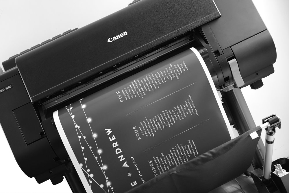 We have a brand new Canon Pro 2000 poster printer and mounting service for the best quality seating plans and venue signage