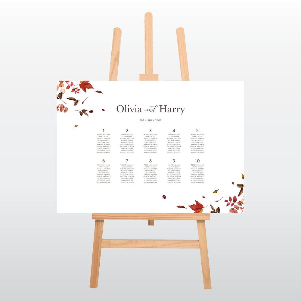 Peace Autumn Table Plan