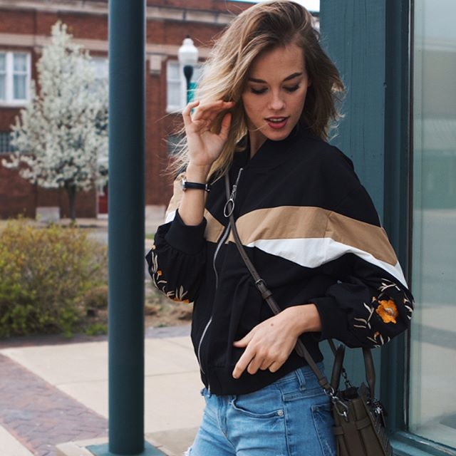 obsessed with my new embroidered bomber jacket | read all about it, link in bio! ⚡️