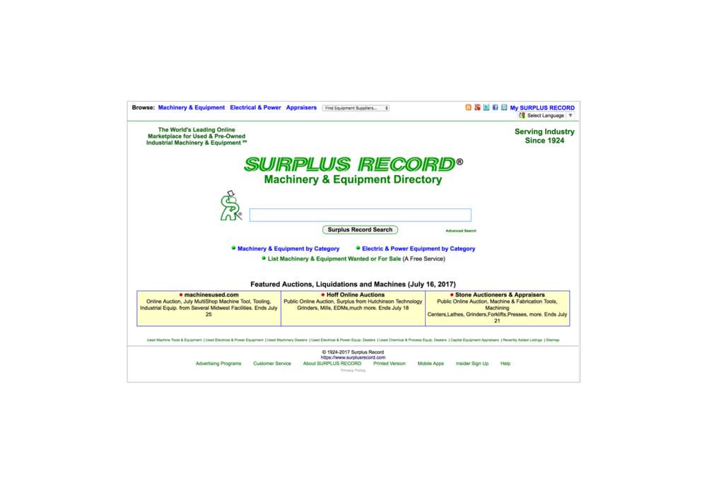The current    Surplus Record    website the website that hasn't received a major front-end update in a decade.
