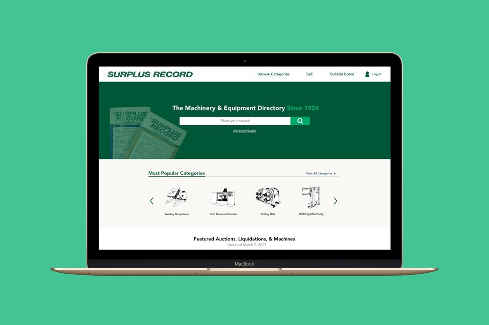 Surplus Record  - A website redesign for an online marketplace for used and pre-owned industrial machinery and equipment. Surplus Record was established in 1924 as one of the first machine and equipment monthly print directories.