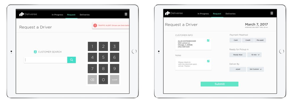 Left:  Customer search screen  Right:  Narrowing down delivery details