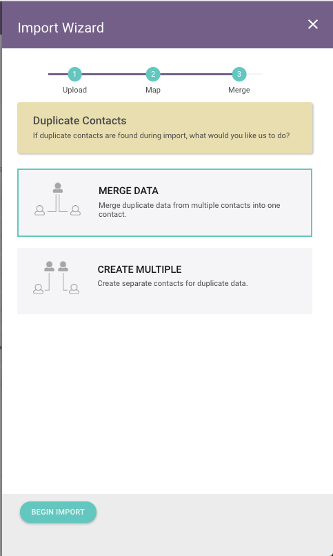 Step #3 - Select What Option You Wish for Duplicate Contacts.