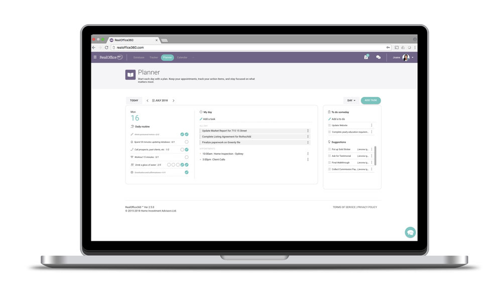 The industry's only integrated daily planner built specifically for real estate agents. Start your day with a daily routine cultivated from agent Top Producers, track your deadlines and never miss an appointment.