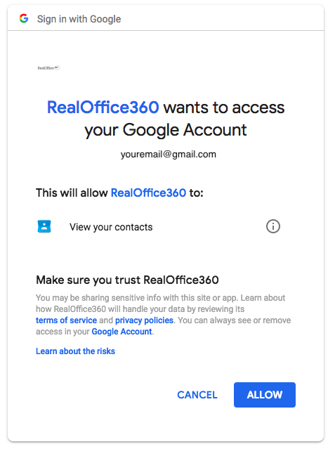 """Step 2: Click """"Allow"""" to allow RealOffice360 to import"""