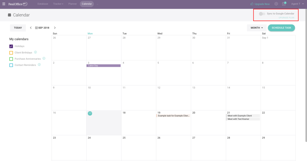 RealOffice360 calendar