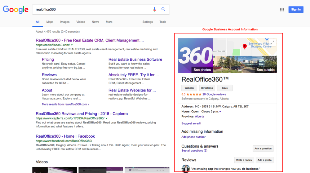 Google Real Estate Business Page