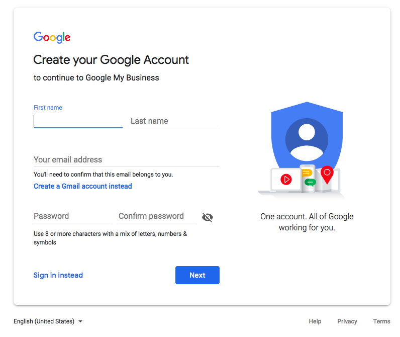 Google Account Create for Real Estate Agents