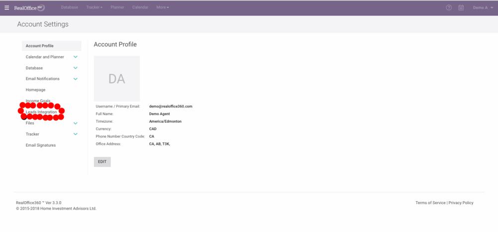 Lead Integration Tab on RealOffice360