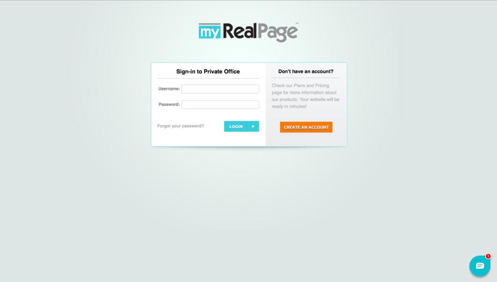myRealPage Login Screen for Lead Capture Setup
