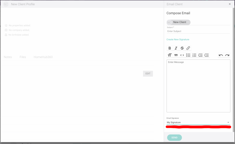 Email Signature Select on Email