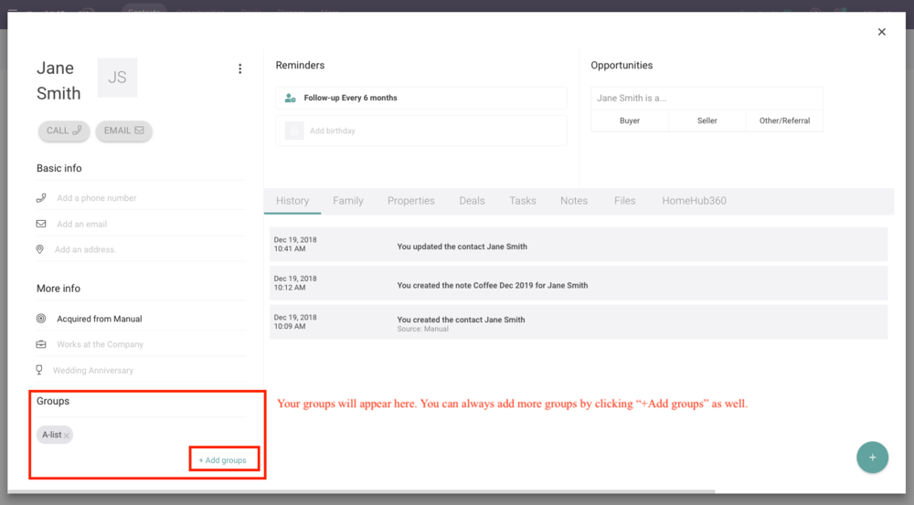 Groups on Contact Profile View with RealOffice360