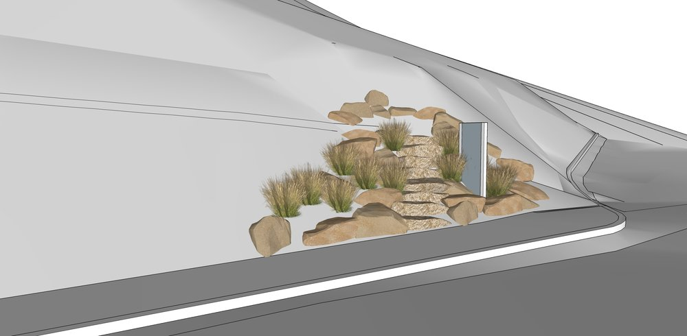 3D Mock up for the trail steps and sandstone boulder position