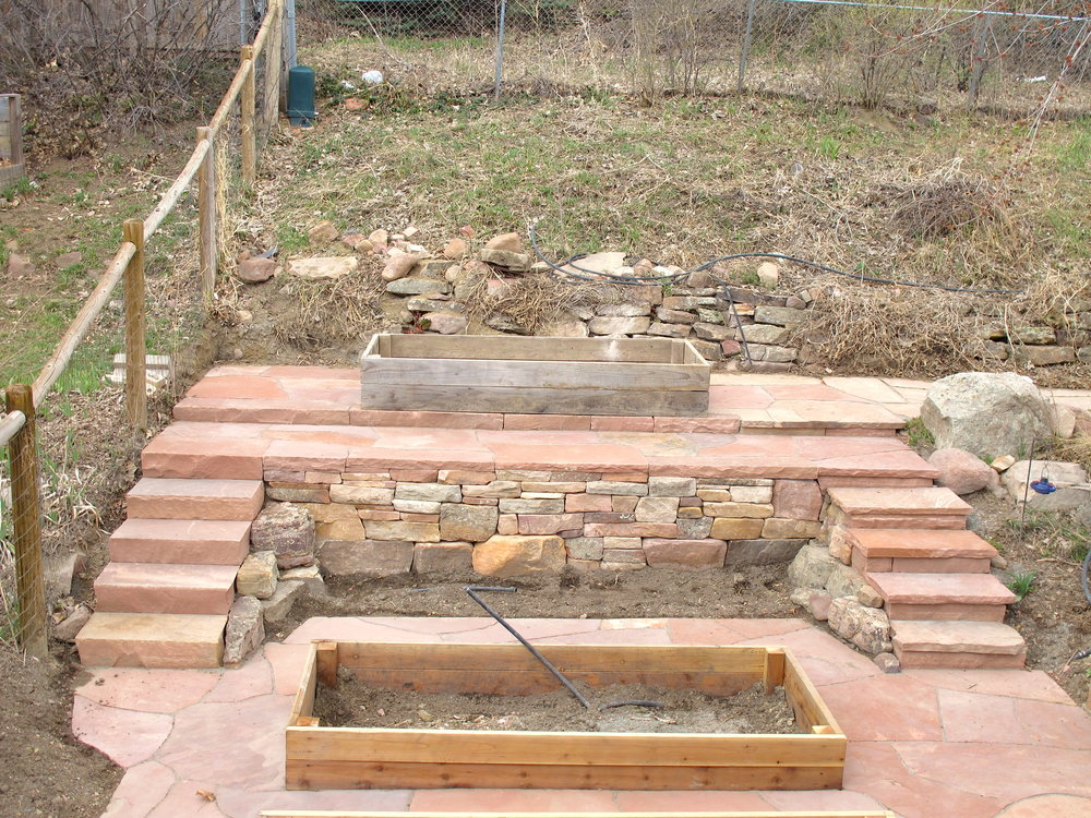 dry stack stone wall | custom stairs