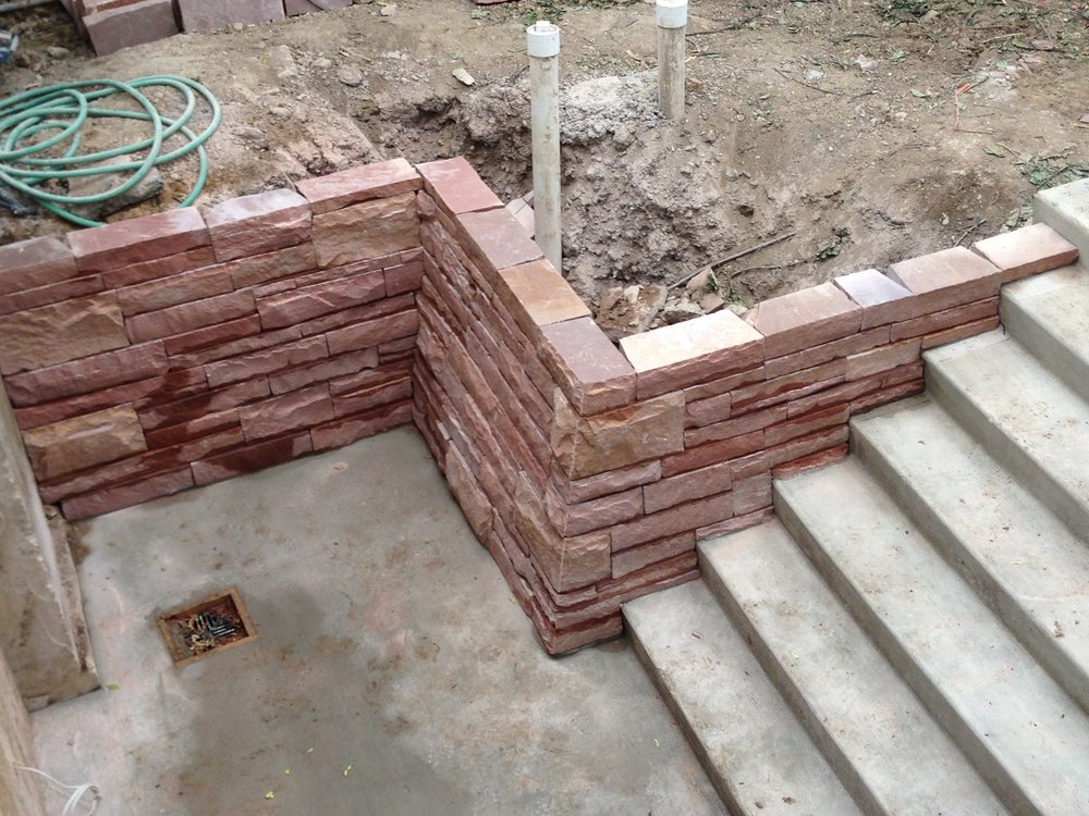 dry stack stone wall | garden flagstones