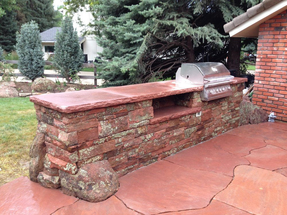 built in grill | stone patio grill