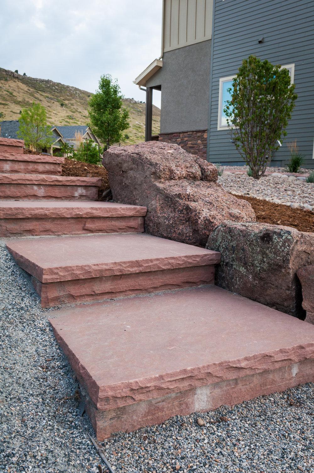 boulder stairs | garden flagstones