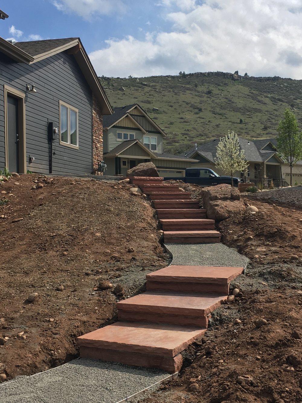 building stone steps | setting stone steps | stepstone builders