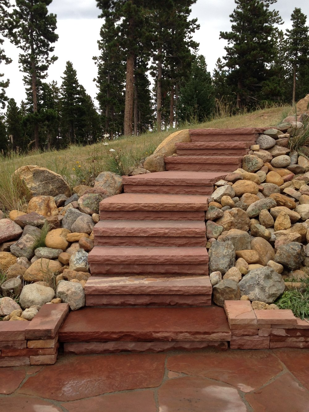 Stone Landscape Stairs | Custom Stairs | Flagstone Stairs