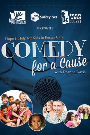 Poster for Comedy for a Cause with Deanna David (image of microphone and photos of smiling kids).