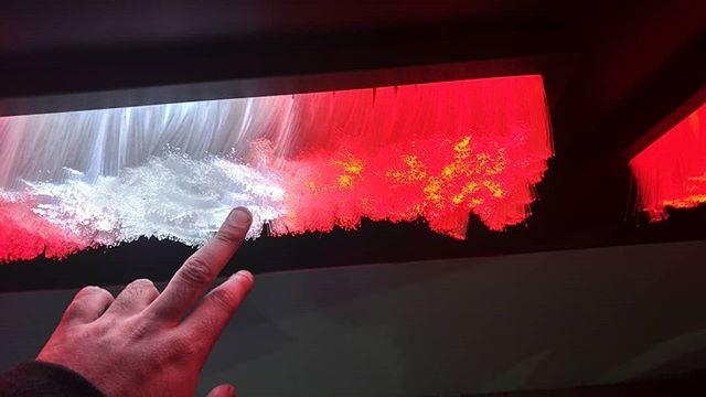 Touch Reactive Fiber Optic wall! . . . . #firston5g #verizon5g #verizon @momentumww #fiber #play #superbowl #touch #interactive #experiential #fabrication #technology #light #glow #atl