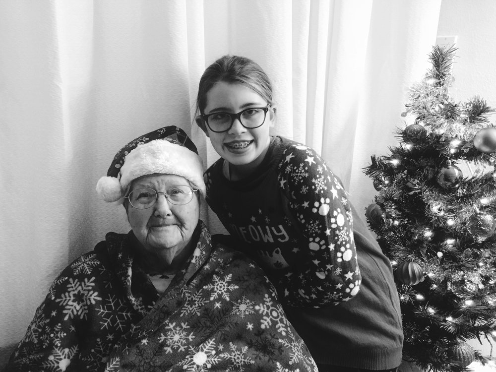 Alyssa & Nanny, December 2017 She helped decorate her great-grandmother's room at the nursing home!