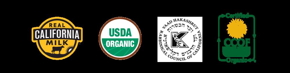 Real California Milk, USDA ORGANIC, Kosher-certified, CCOF ORGANIC