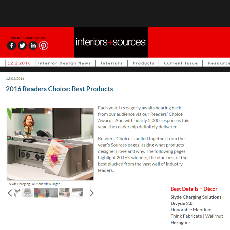 Divyde Wins Interiors + Sources Magazine Reader's Choice Award!