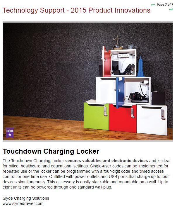 Slyde Charging Locker   Chosen for Product Innovations Award by BUILDINGS Magazine