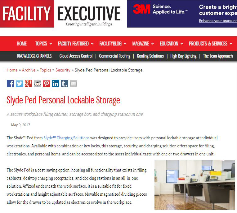 Slyde Ped Personal Lockable Storage on Facility Executive