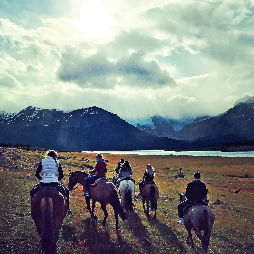 Evening Ride, Estancia Nibepo Aike, Patagonia, Argentina
