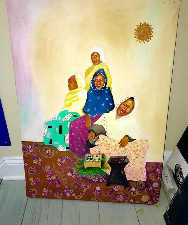 This is a Yemane Abera #painting from #Ethiopia. This item was picked by Rich, part of the History Chaser team, while walking in his neighborhood in #Manhattan from the garbage. For more info including pricing DM us or email us at info@kkentertainment.com #art