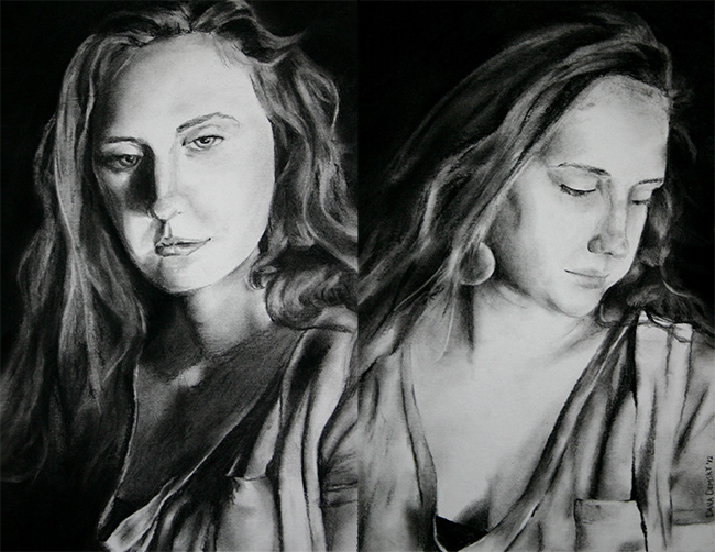 Pair of Portraits of a Friend , charcoal