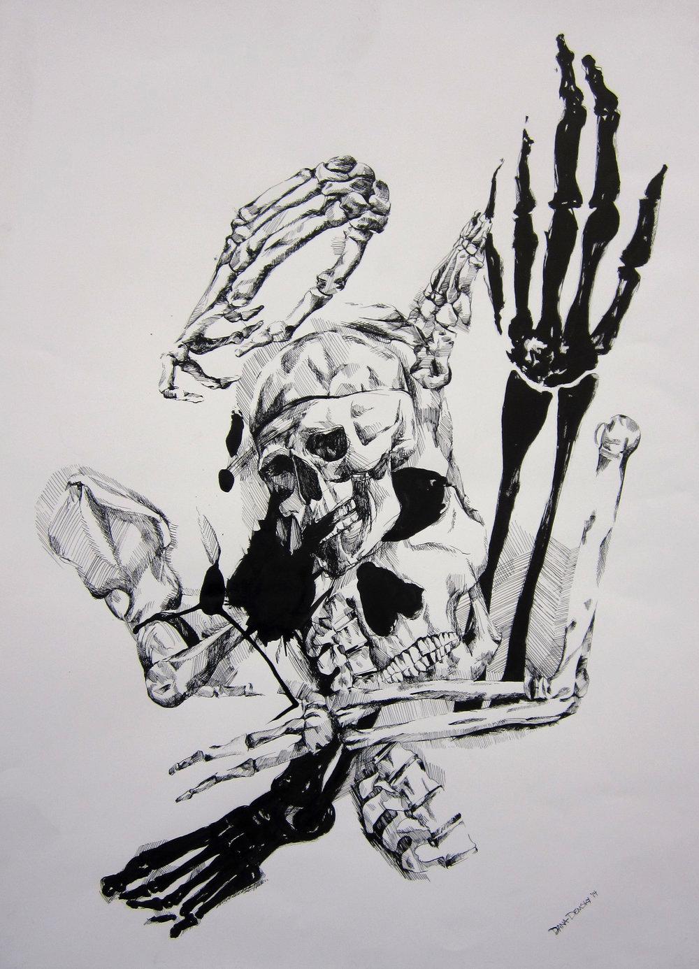 Skeleton Juxtaposition, india ink