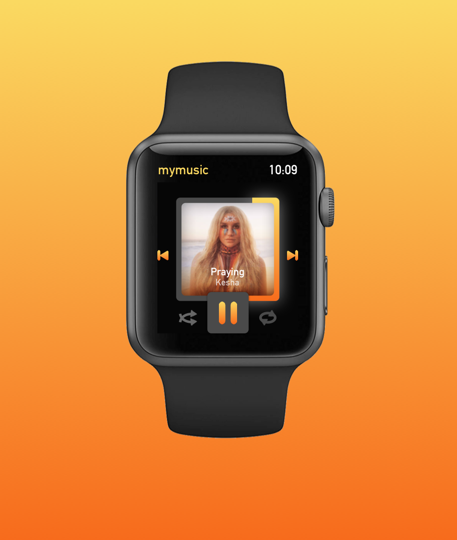 Prompt: Music Player Design - I don't have much experience with Apple Watch design, so I decided to use this prompt as a way to test out my skills on a new interface.  It was a fun challenge to design for such a small space.